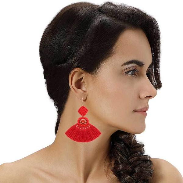 Model Wearing Deepa by Deepa Gurnani Handmade Annalisa Earrings Red