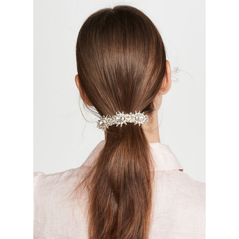 Ansley Barrette | Lightweight Hand Embroidered Silver Barrette