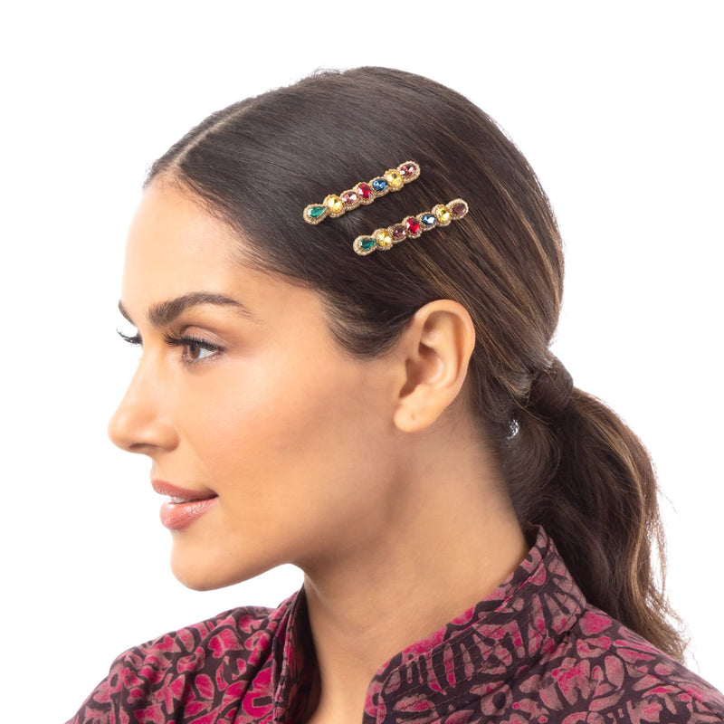 Unique Hand Embroidered Hair Clips by Deepa Gurnani