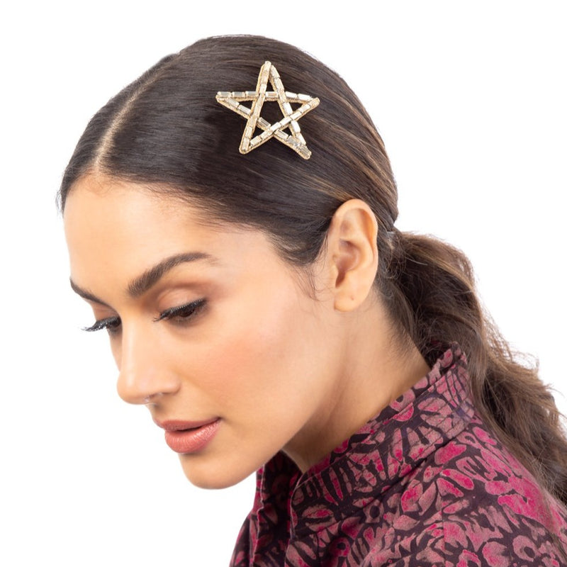 Armani Bobbie Pin | Hand Embroidered Star Crystal Bobbie Pin