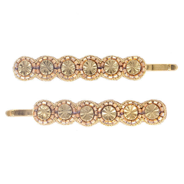 handmade beaded gold bobby pin set