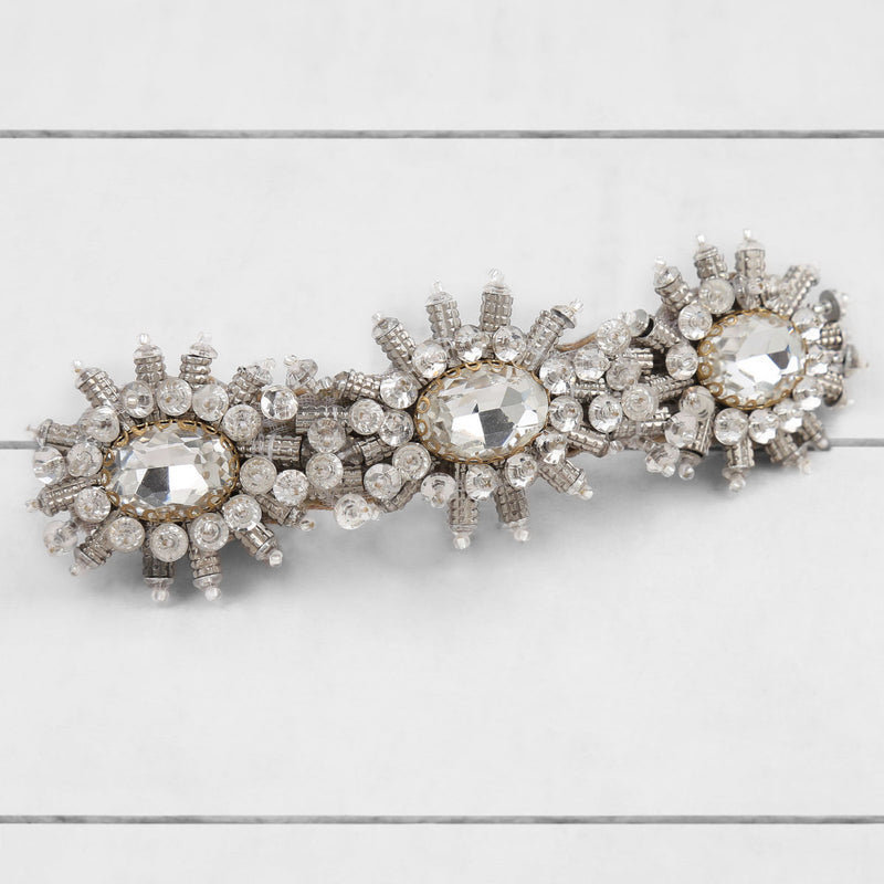 Deepa by Deepa Gurnani Handmade Ansley Barrette Silver On Wood Background