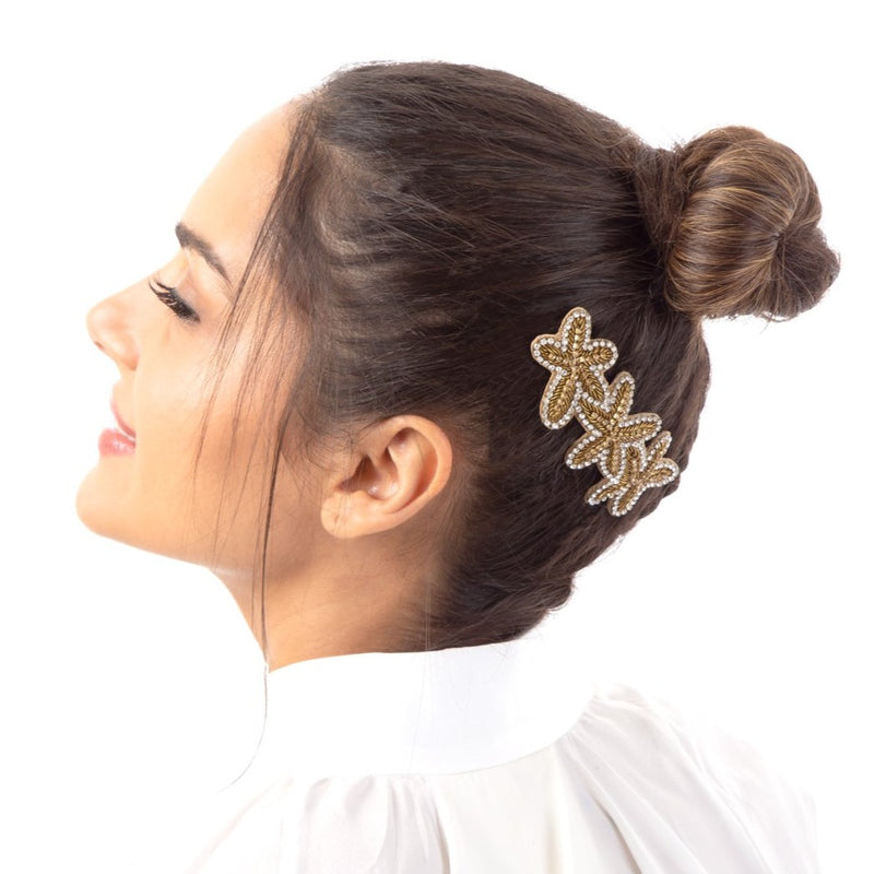 Brodie Barrette | Finely hand embroidered gold barrette