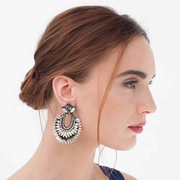 Model Wearing Deepa Gurnani Handmade Brinley Earrings Silver