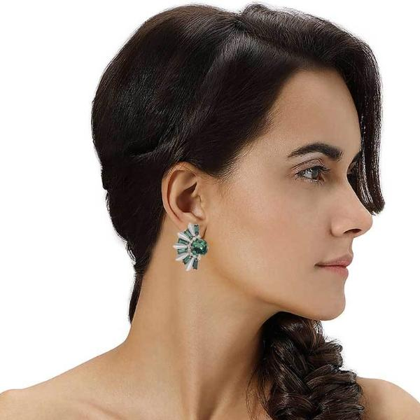 Model Wearing Deepa by Deepa Gurnani Handmade Bynes Earrings Emerald