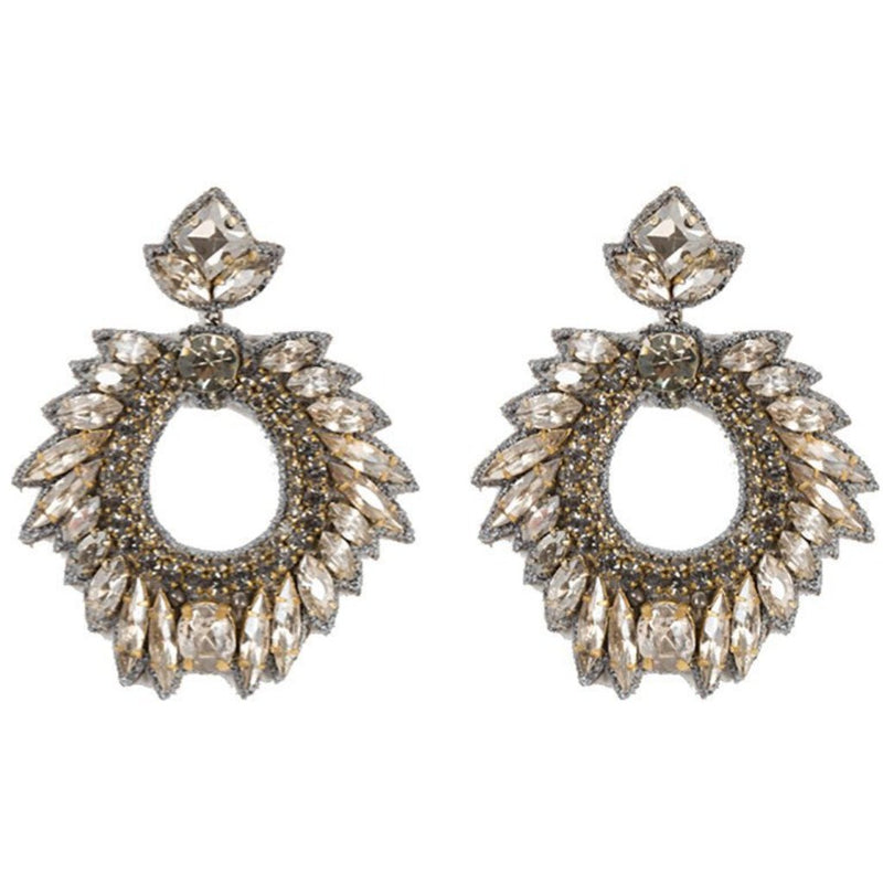 Deepa by Deepa Gurnani Handmade Chantel Earrings in Gunmetal