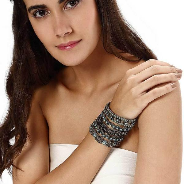 Model Wearing Deepa by Deepa Gurnani Handmade Omie Cuff in Gunmetal