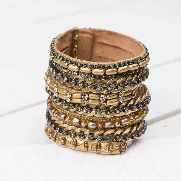 Deepa by Deepa Gurnani Handmade Cersei Cuff in Gold on Wood Background