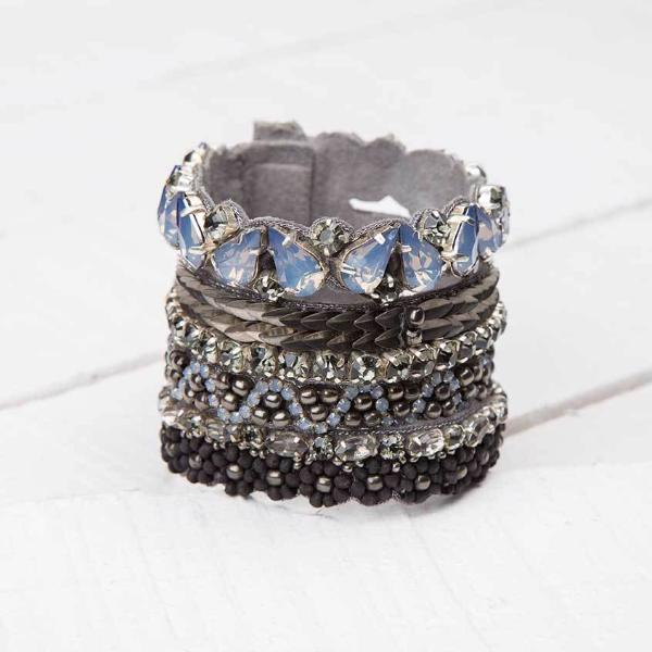 Deepa by Deepa Gurnani Handmade Hermoine Cuff in Gunmetal on Wood Background