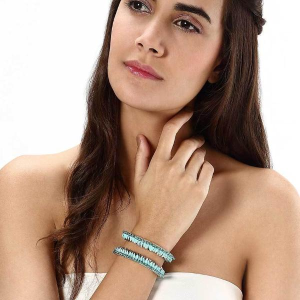 Model Wearing Deepa by Deepa Gurnani Handmade Rory Cuff in Turquoise
