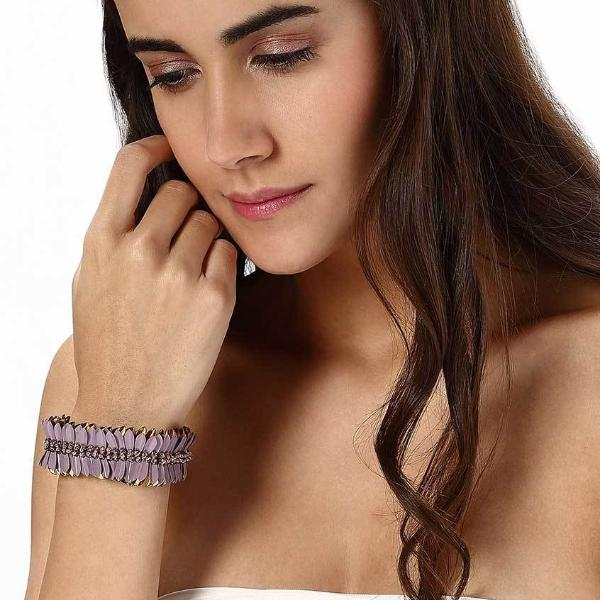 Model Wearing Deepa by Deepa Gurnani Handmade McKenna Cuff in Lavender