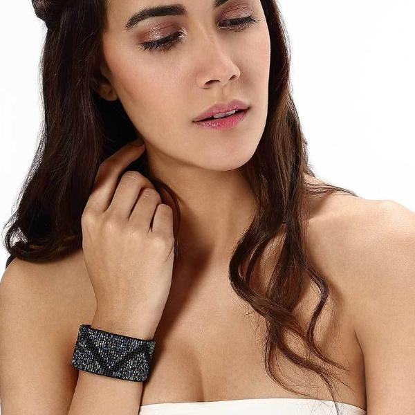 Model Wearing Deepa by Deepa Gurnani Handmade Storm Cuff in Black
