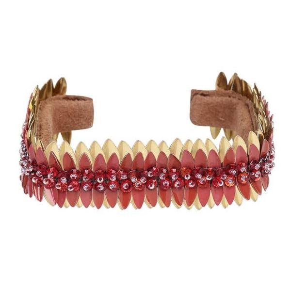 Deepa by Deepa Gurnani Handmade Vada Cuff in Red