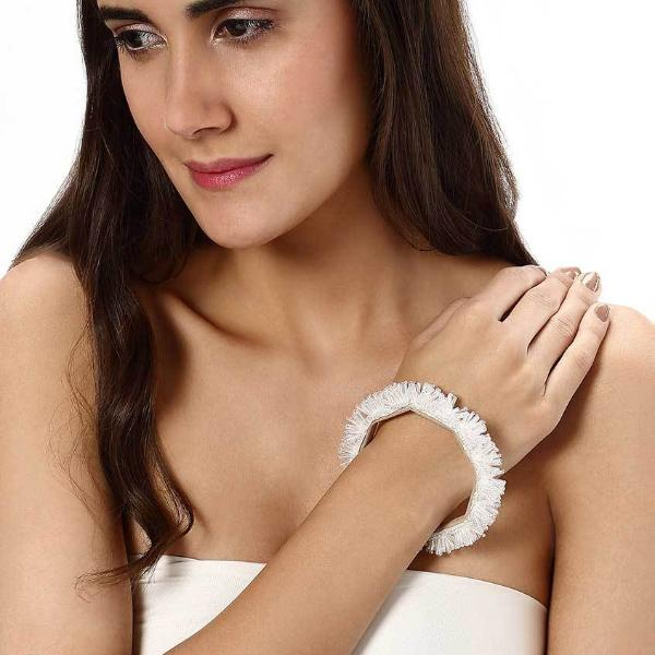 Model Wearing Deepa by Deepa Gurnani Handmade Yana Cuff in White