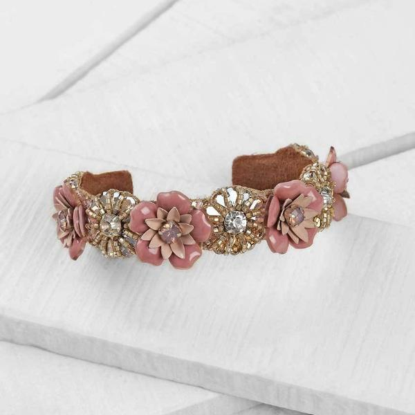 Deepa by Deepa Gurnani Pink Ivie Bracelet  on Wood Background