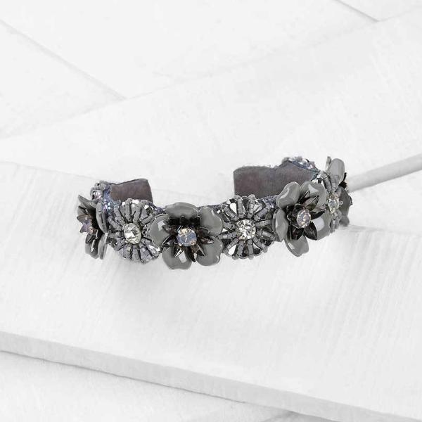 Deepa by Deepa Gurnani Grey Ivie Bracelet  on Wood Background