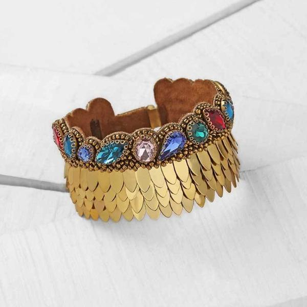 Deepa by Deepa Gurnani Handmade Gold Sylvie Bracelet on Wood Background