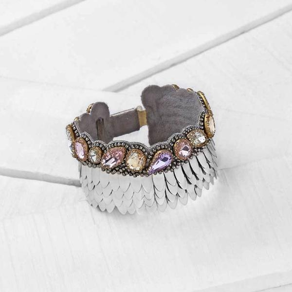 Deepa by Deepa Gurnani Handmade Silver Sylvie Bracelet on Wood Background