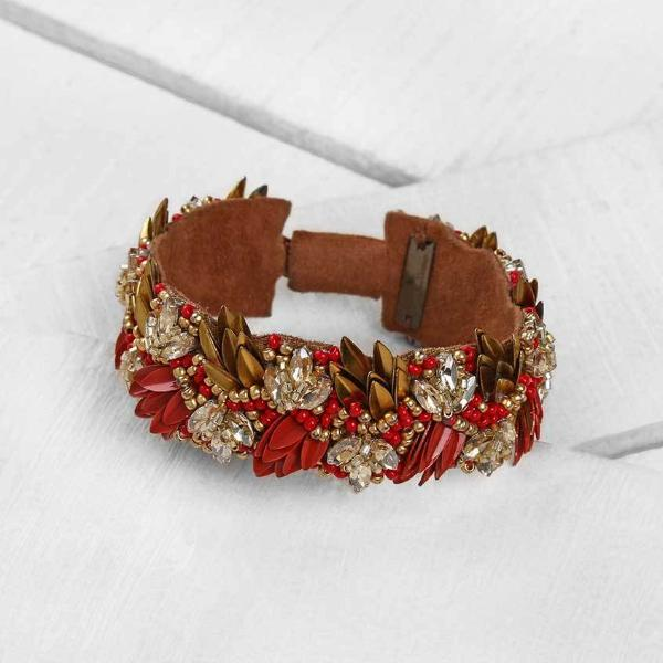 Deepa by Deepa Gurnani Amani Bracelet in Coral Red on Wood Background