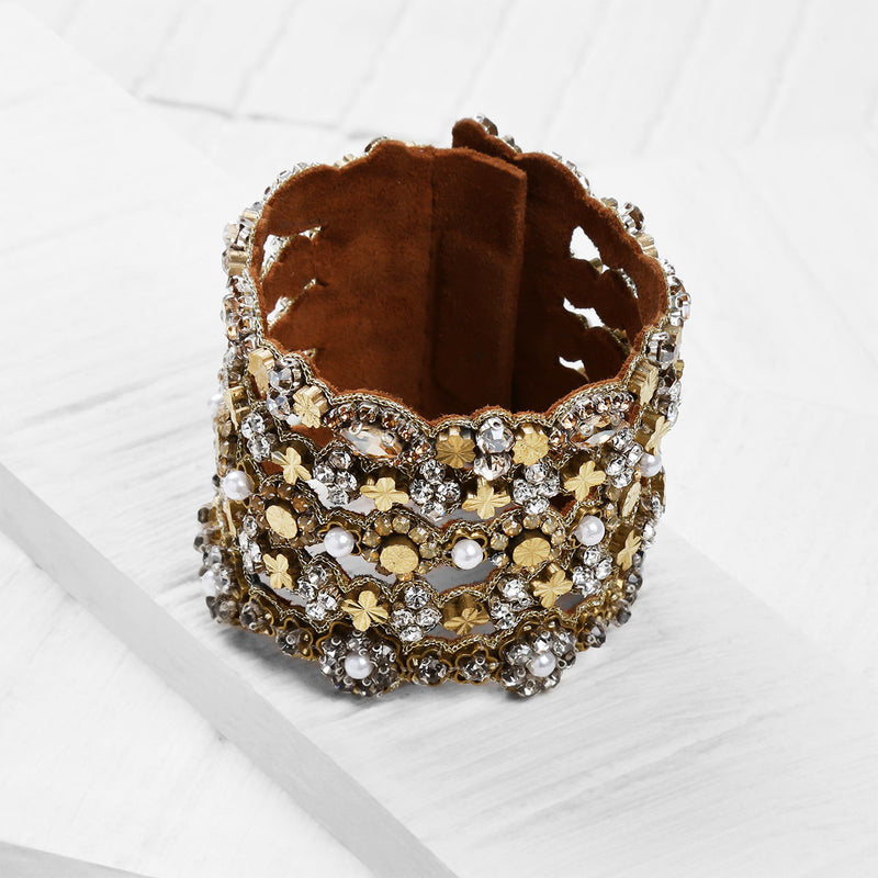 Deepa by Deepa Gurnani Handmade Cambria Cuff on Wood Background