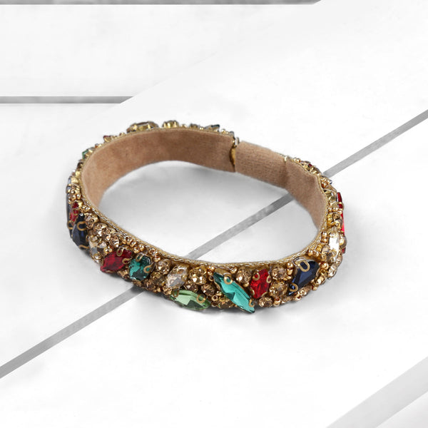 Deepa by Deepa Gurnani Handmade Avalon Cuff Multi Color on Wood Background