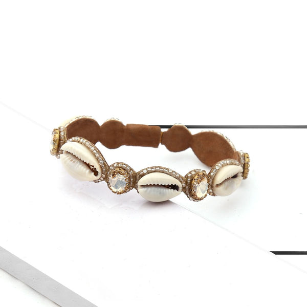Deepa by Deepa Gurnani Handmade Kaia Bracelet Gold on Wood Background