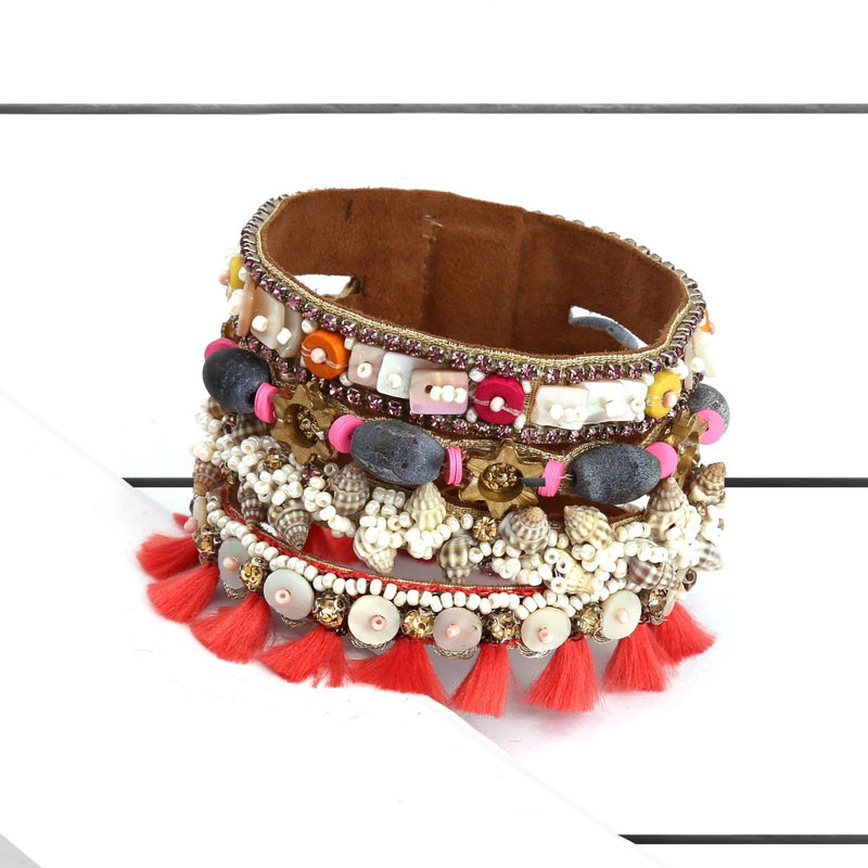 Deepa by Deepa Gurnani Handmade Brandi Cuff Coral on Wood Background