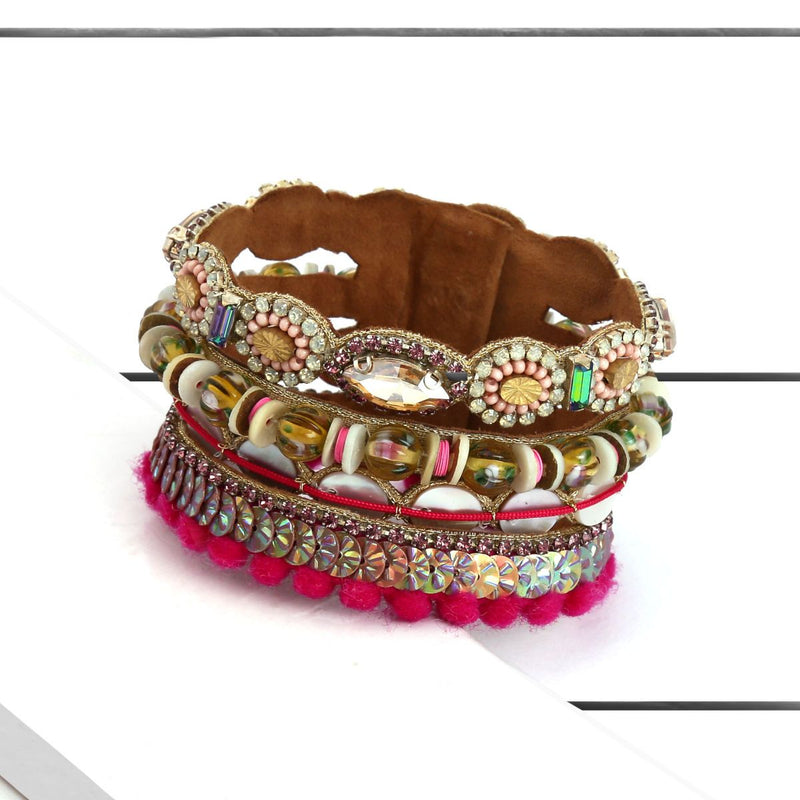 Deepa by Deepa Gurnani Handmade Eila Cuff Fuchsia on Wood Background