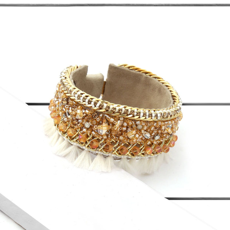 Deepa by Deepa Gurnani Handmade Fredricka Cuff Gun on Wood Background