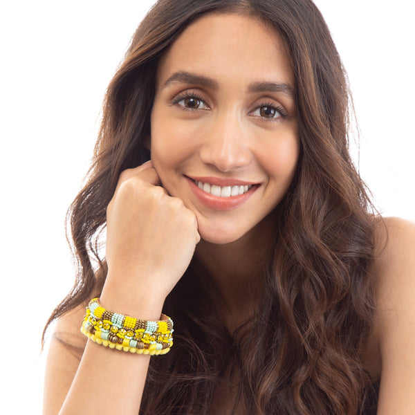 A fresh take on spring style with our fun yellow Yasmeen Cuff