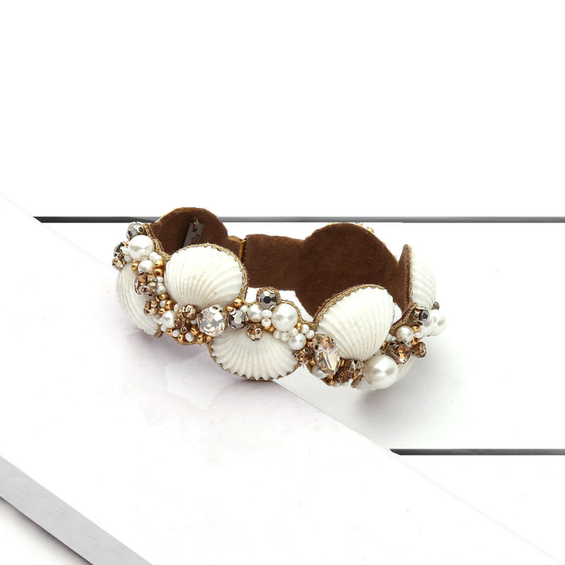Deepa by Deepa Gurnani Handmade Aliyah Cuff Ivory on Wood Background