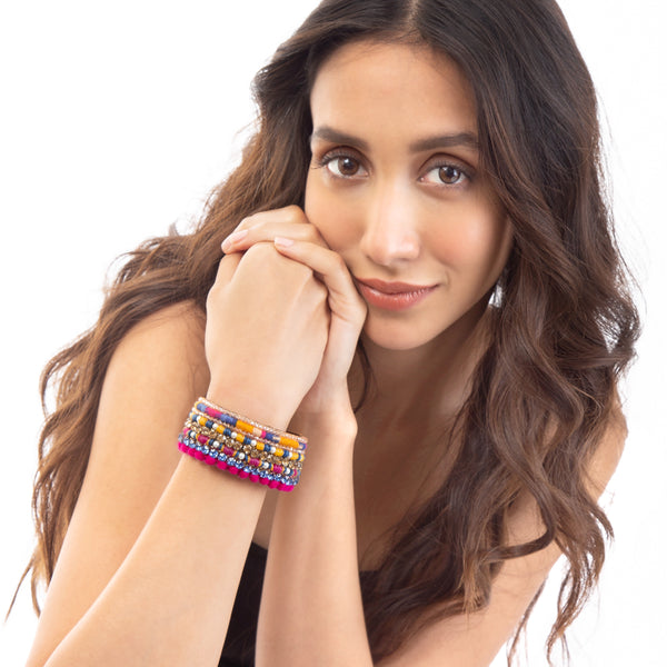 Naia Cuff | Hand Embroidered Multicolor Bracelet