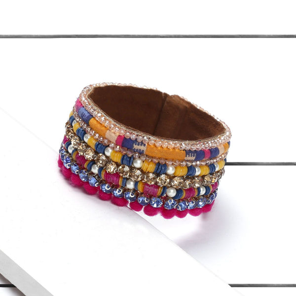 Deepa by Deepa Gurnani Handmade Naia Cuff Fuchsia on Wood Background