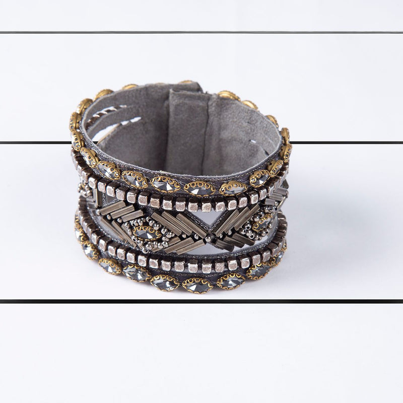 Deepa by Deepa Gurnani Handmade Kajal Cuff Gunmetal on Wood Background