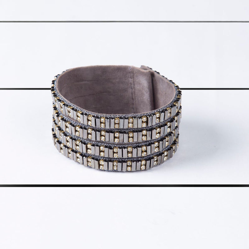 Deepa by Deepa Gurnani Handmade Lolita Cuff Gunmetal on Wood Background