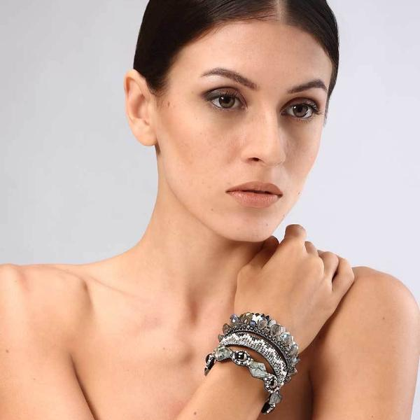 Model Wearing Deepa Gurnani Handmade Khloe Luxe Statement Cuff