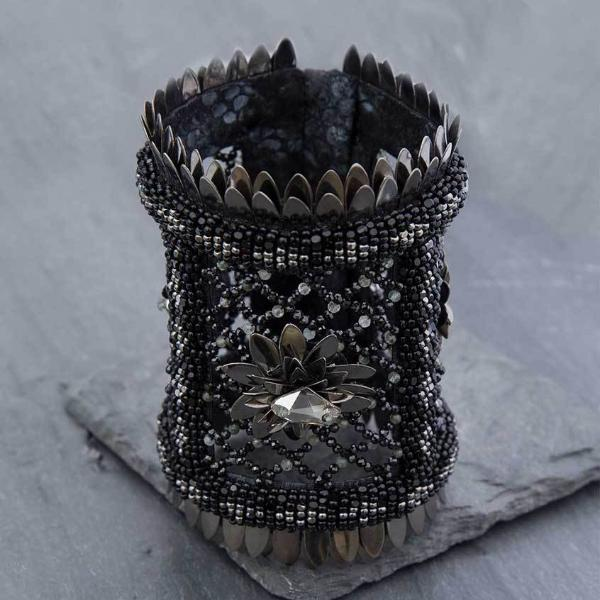 Deepa Gurnani Handmade Jeannie Luxe Cuff on Slate Background