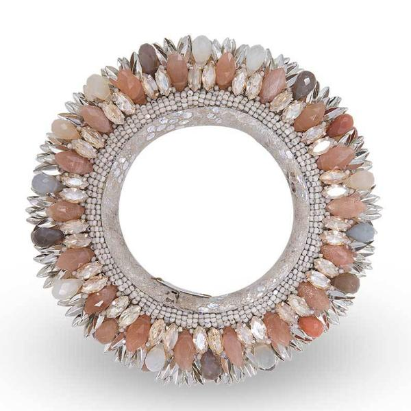 Deepa Gurnani Handmade Nikki Luxe Statement Cuff in Silver and Peach