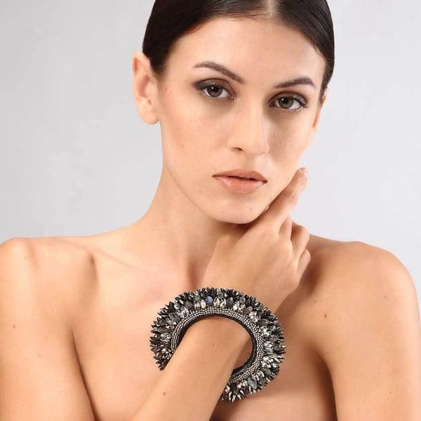 Model Wearing Deepa Gurnani Handmade Nikki Luxe Statement Cuff in Gunmetal