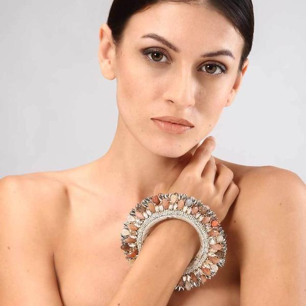 Model Wearing Deepa Gurnani Handmade Nikki Luxe Statement Cuff in Silver and Peach