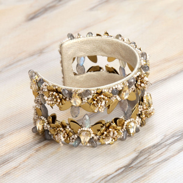 Deepa Gurnani Handmade Terry Cuff Gold on Slate Background