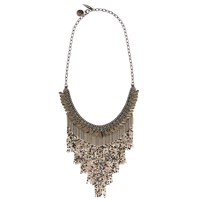 Deepa by Deepa Gurnani Handmade Cheryl Necklace in Gunmetal