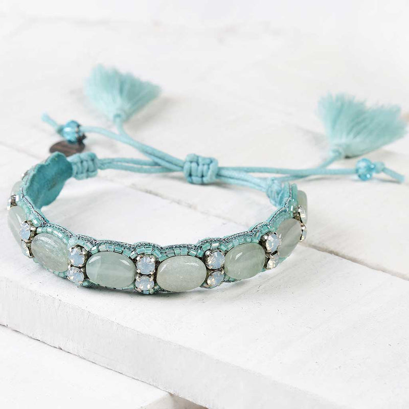 Deepa by Deepa Gurnani Handmade Kip Bracelet in Turquoise on Wood Background