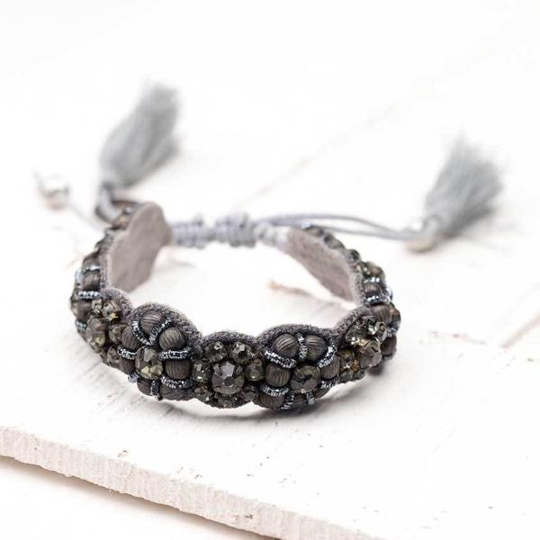 Deepa by Deepa Gurnani Handmade Silvia Bracelet in Gunmetal on Wood Background