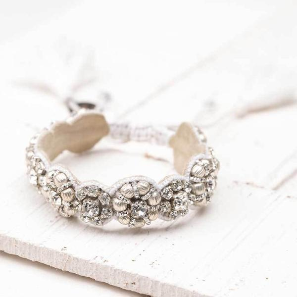 Deepa by Deepa Gurnani Handmade Silvia Bracelet in Silver on Wood Background