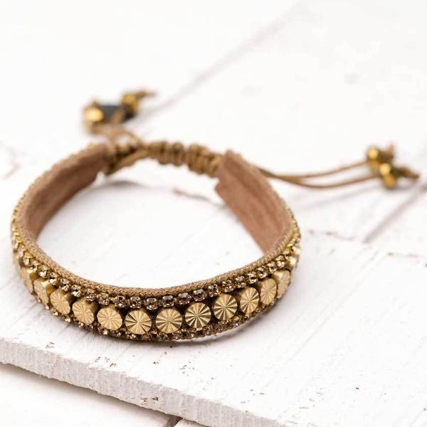 Deepa by Deepa Gurnani Handmade Riz Bracelet in Gold on Wood Background