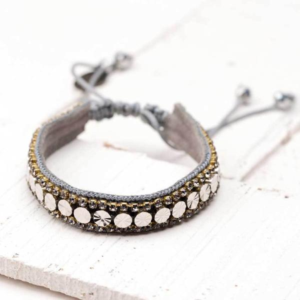 Deepa by Deepa Gurnani Handmade Riz Bracelet in Gunmetal on Wood Background