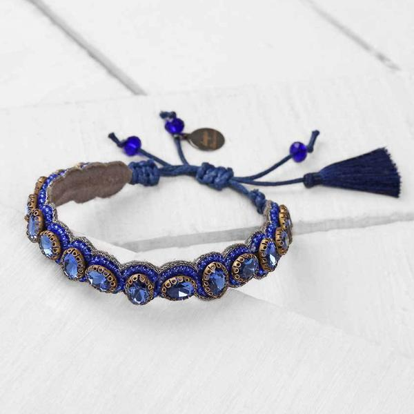 Deepa by Deepa Gurnani Pia Bracelet Cobalt Color on Wood Background
