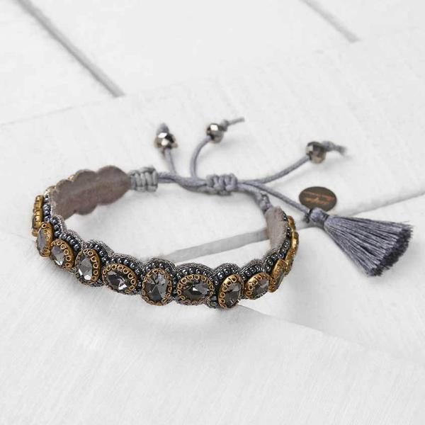 Deepa by Deepa Gurnani Pia Bracelet Gunmetal Color on Wood Background