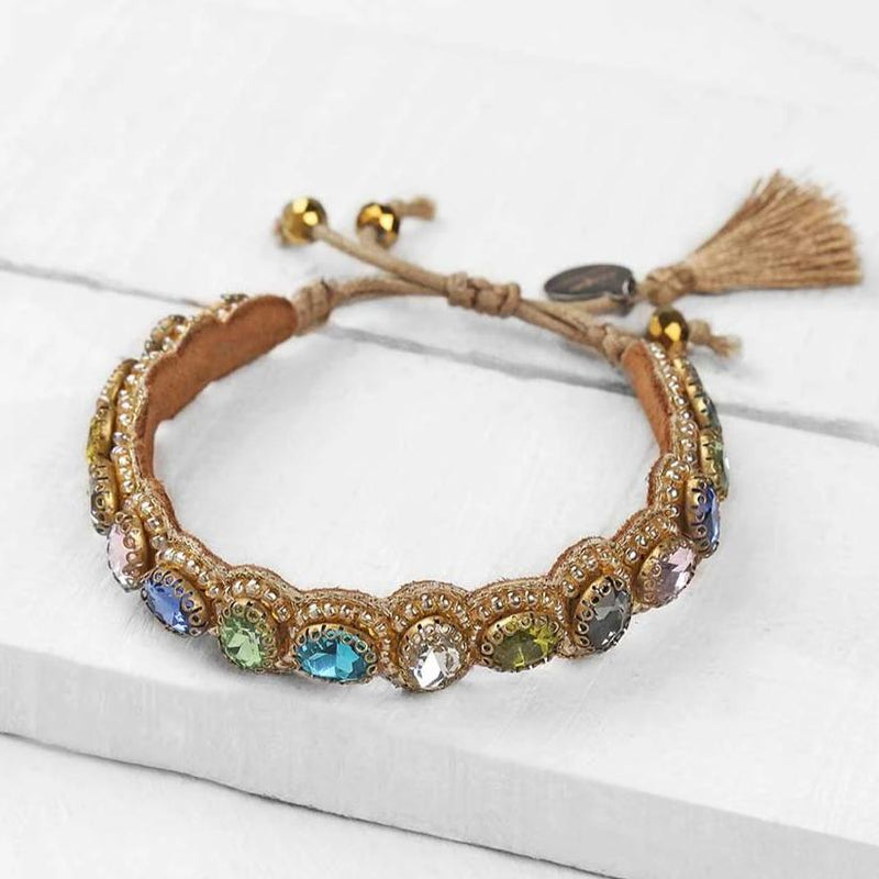 Deepa by Deepa Gurnani Pia Bracelet Multicolor on Wood Background